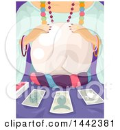 Clipart Of A Gypsy Woman Telling The Future With Tarot Cards And A Crystal Ball Royalty Free Vector Illustration by BNP Design Studio