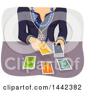 Clipart Of A Gypsy Woman Reading Tarot Cards Royalty Free Vector Illustration by BNP Design Studio