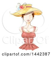 Clipart Of A Sketched Female Mannequin With A Sun Hat And Bustier Dress Royalty Free Vector Illustration