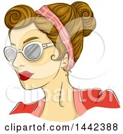Clipart Of A Sketched Caucasian Woman With A 50s Rockabilly Rosie Hairstyle And Butterfly Glasses Royalty Free Vector Illustration