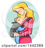 Poster, Art Print Of Sketched Blond Caucasian Mother Adoring Her Baby