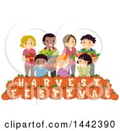Clipart Of A Group Of Farmers With Produce Over Harvest Festival Text Pumpkins Royalty Free Vector Illustration by BNP Design Studio