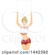 Blond Caucasian Ring Girl Woman Holding Up A Blank Board