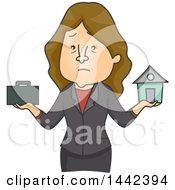 Clipart Of A Cartoon Stressed Caucasian Business Woman Trying To Balance Family And Work Royalty Free Vector Illustration