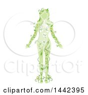 Clipart Of A Silhouetted Womans Body With Visible Organs And Vines Royalty Free Vector Illustration