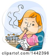 Clipart Of A Cartoon Red Haired Caucasian Woman Chain Smoking Cigarettes Royalty Free Vector Illustration by BNP Design Studio