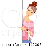 Clipart Of A Brunette Tailor Caucasian Woman Pointing Around A Sign Royalty Free Vector Illustration