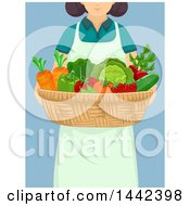 Clipart Of A Woman Carrying A Basket Of Produce Royalty Free Vector Illustration