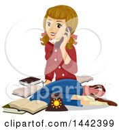Clipart Of A Vintage Caucasian Teenage Girl Sitting On The Floor And Talking On The Phone Royalty Free Vector Illustration