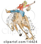 Attractive Blonde Cowgirl Riding A Bucking Bronco Horse In A Rodeo Clipart Illustration