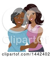 Clipart Of A Happy Senior Black Woman Posing With Her Daughter Royalty Free Vector Illustration