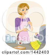 Poster, Art Print Of Happy Dirty Blond Caucasian Mother Feeding Her Baby A Nutritious Meal