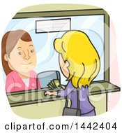 Cartoon Caucasian Woman Paying A Cashier At A Booth