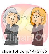 Cartoon Senior And Middle Aged Business Women In A Conflict Due To A Generation Gap