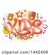 Clipart Of A Kids Workshop Design With Music And Theater Icons Royalty Free Vector Illustration by BNP Design Studio