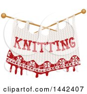 Clipart Of A Pair Of Knitting Needles And Cloth With Text Royalty Free Vector Illustration