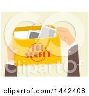 Clipart Of A Mans Hands Holding And Opening A Top Secret Envelope Royalty Free Vector Illustration