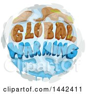 Clipart Of A Globe With Extreme Weather Conditions And Global Warming Text Royalty Free Vector Illustration by BNP Design Studio