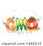 Clipart Of A GMO Text Design With Syringes Injecting Produce Royalty Free Vector Illustration