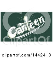 Clipart Of A Spoon And Fork Forming The T In The Word Canteen On Green Royalty Free Vector Illustration