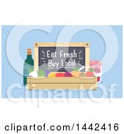 Clipart Of A Crate Of Produce With An Eat Fresh Buy Local Blackboard Royalty Free Vector Illustration by BNP Design Studio