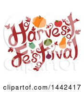 Clipart Of A Harvest Festival Text Design With Produce Royalty Free Vector Illustration