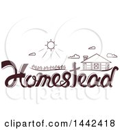 Clipart Of A Sun And Homestead Over Text Royalty Free Vector Illustration by BNP Design Studio