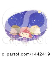 Sketched Group Of Children Floating In Outer Space