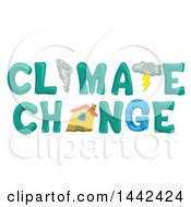 Clipart Of A Tornado Storm Coud And House In The Words Climate Change Royalty Free Vector Illustration by BNP Design Studio