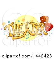Clipart Of The Word Theater With Stars Dots Music Notes And Masks Royalty Free Vector Illustration by BNP Design Studio