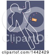 Clipart Of A Chalk Body Outline Of A Suicide Death With Pills Royalty Free Vector Illustration by BNP Design Studio