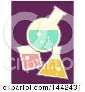 Clipart Of Flat Styled Laboratory Glass Containers Over Purple Royalty Free Vector Illustration
