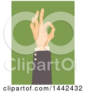 Clipart Of A White Business Mans Hand Gesturing Ok On Green Royalty Free Vector Illustration