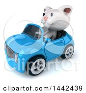 Poster, Art Print Of 3d White Kitten Driving A Convertible Car On A White Background