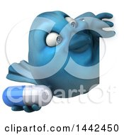3d Blue Bird On A White Background