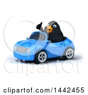 Poster, Art Print Of 3d Black Bird Driving A Convertible Car On A White Background