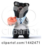 3d Black Bear Veterinarian Or Doctor Holding A Piggy Bank On A White Background