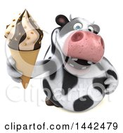3d Holstein Cow Character Holding A Waffle Ice Cream Cone On A White Background