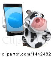 3d Holstein Cow Character Holding A Smart Phone On A White Background