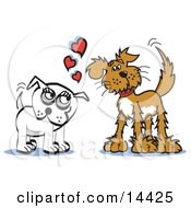 Two Infatuated Dogs Staring At Eachother And Wagging Their Tails Clipart Illustration
