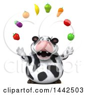 3d Holstein Cow Character Juggling Produce On A White Background