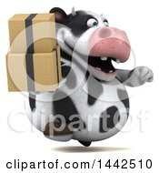 3d Holstein Cow Character Holding Boxes On A White Background