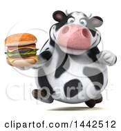 3d Holstein Cow Character Holding A Double Burger On A White Background