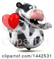 Poster, Art Print Of 3d Holstein Cow Character Holding A Heart On A White Background