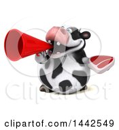 3d Holstein Cow Character Holding A Beef Steak On A White Background