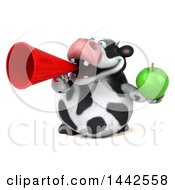 3d Holstein Cow Character Holding A Green Apple On A White Background