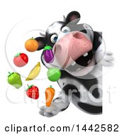 3d Holstein Cow Character Holding Produce On A White Background