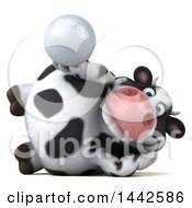 3d Holstein Cow Character Holding A Golf Ball On A White Background