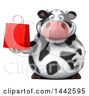 3d Holstein Cow Character Holding A Shopping Of Gift Bag On A White Background
