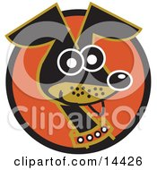 Cute And Alert Daschund Dog Wearing A Collar Clipart Illustration